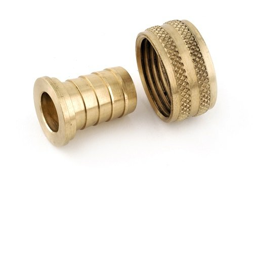 "Anderson Metals Brass Garden Hose Swivel Fitting, Connector, 3/4"" Barb x 3/4"" Female Hose"