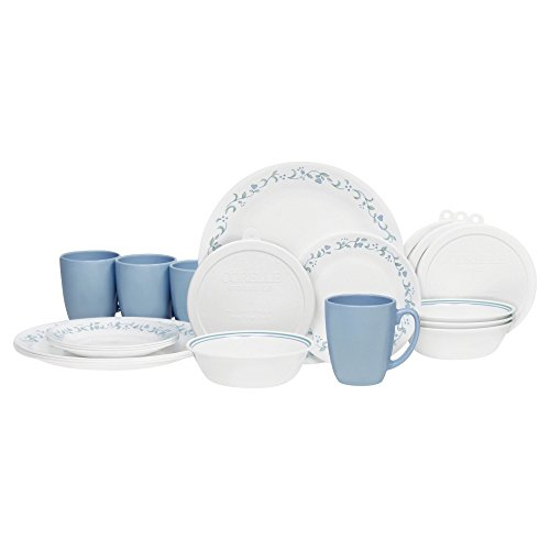 Corelle 20 Piece Livingware Dinnerware Set with Storage, Country Cottage, Service for 4