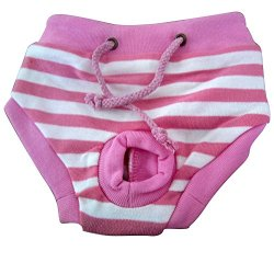 Tangpan Female Pet Dog Puppy Sanitary Pant Short Panty Striped Diaper (Pink, XL)