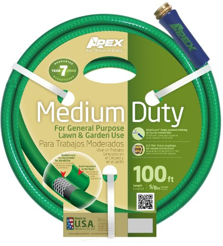 Apex Medium Duty Garden Hose, 5/8-Inch by 100 Feet