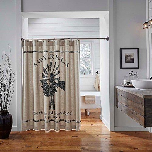 VHC Brands Farmhouse Bath-Sawyer Mill Tan Shower Curtain, One Size