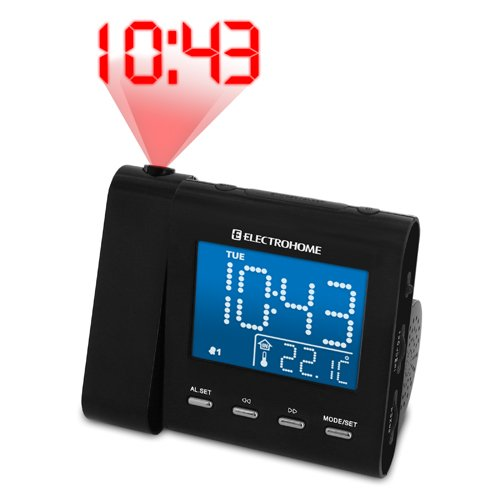 Electrohome Projection Alarm Clock with AM/FM Radio, Battery Backup, Auto Time Set, Dual Alarm, Indoor Temperature/Day/Date Display & 3.5mm Audio Connection for Smartphones & Tablets (EAAC600)