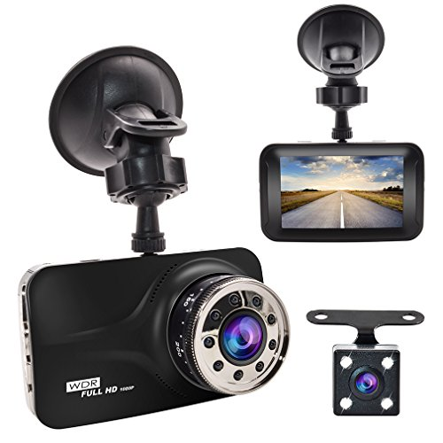 "Dash Cam , GERI Black Box dash camera Full HD 1080P 3"" LCD Car DVR dual Camera Video Recorder with G-Sensor Night Vision Motion Detection WDR 170° Wide Angle with reversing camera"