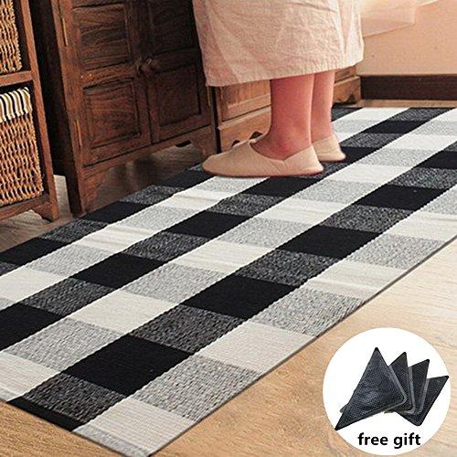 Ukeler 100% Cotton Plaid Rugs Black/White Hand-woven Checkered Carpet