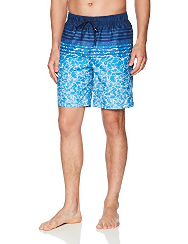 Calvin Klein Men's Water Stripe Printed Swim Trunk, Medieval Blue, Large