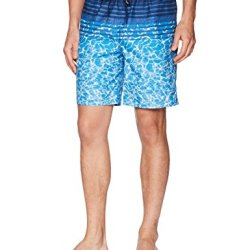 Calvin Klein Men's Water Stripe Printed Swim Trunk, Medieval Blue, Large