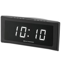 """Electrohome 1.8"""" Jumbo LED Alarm Clock Radio with Battery Backup, Auto Time Set, Digital AM/FM Tuner, Dual Alarm, Indoor Temperature & 4 Dimming Options (EAAC302W)"""