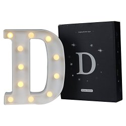 DELICORE LED Marquee Letter Lights Alphabet Light Up Sign for Wedding Home Party Bar Decoration D