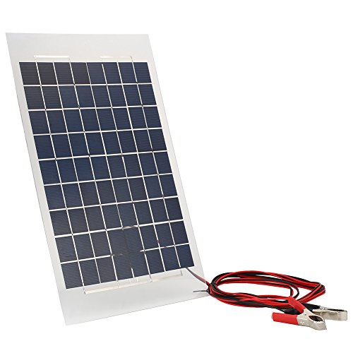 Cewaal 18V 10W Portable Solar Charger Panel External Battery Pack With Crocodile Clips for Car Boat