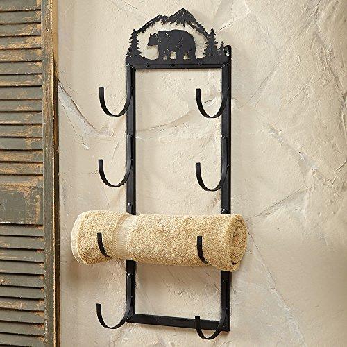 Bear Wall/Door Mount Rustic Towel Rack