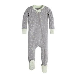 Burt's Bees Baby Unisex Baby Infant Organic Zip Front Non-Slip Footed Sleeper Pajamas, Desert Terrain, 3-6 Months