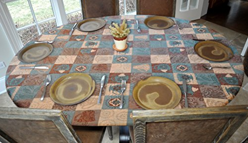 "Elastic Edged Flannel Backed Vinyl Fitted Table Cover - GLOBAL COFFEE Pattern - Oblong/Oval - Fits tables up to 48"" x 68"""