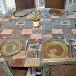 """Elastic Edged Flannel Backed Vinyl Fitted Table Cover - GLOBAL COFFEE Pattern - Oblong/Oval - Fits tables up to 48"""" x 68"""""""