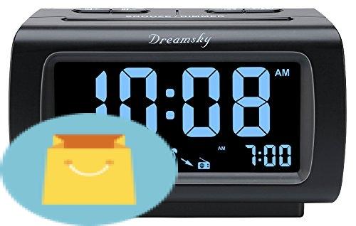 DreamSky Digital Alarm Clock Radio with FM Radio and USB Port, Large Number Display with Dimmer, Indoor Temperature Display, Adjustable Alarm Sound, Snooze, Sleep Timer, Plug in Clock for Bedroom.