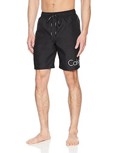 Calvin Klein Men's Solid Logo Volley Swim Trunk, Black, Medium