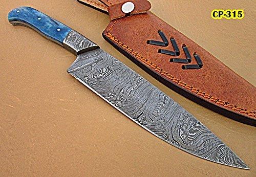 Poshland Handmade Damascus Steel Chef Knife - Bone Handle with Damascus Steel Bolsters