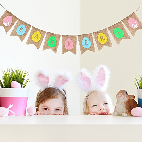 Maxdot 2.8 Meters Easter Natural Burlap Banner Bunny and Colorful Eggs Bunting Garland Banner for Easter Party Home Ornaments