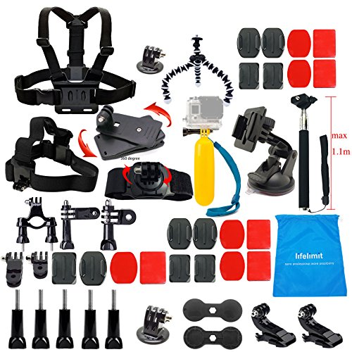 Lifelimit Accessories Starter Kit for Gopro Hero 6/fusion/5/Session/4/3/2/HD/HERO+ (Wi-Fi Enabled) Silver Cameras SJ4000 /5000/ 6000 /AKASO/ APEMAN/ DBPOWER/ And Sony Sports DV and More
