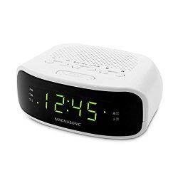 Magnasonic Digital AM/FM Clock Radio with Battery Backup, Dual Alarm, Sleep & Snooze Functions, Display Dimming Option (EAAC201)