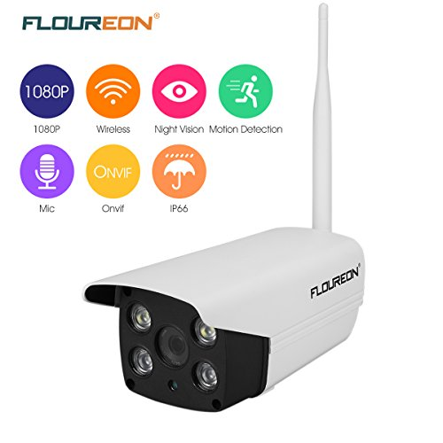 FLOUREON 1080P Outdoor Wireless WiFi IP Camera 2 0 Mega Pixel Home Security  Bullet Camera Waterproof Support Two-Way/ONVIF/Motion Detection/ Video
