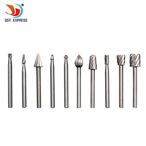"QST 10pcs HSS Routing Router Bits Burr Rotary Tools-1/8"" (3mm) Shank Suit"