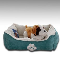 Sofantex Paw Print Pet Bed, 25-Inch, Blue Outside and Sherpa Inside