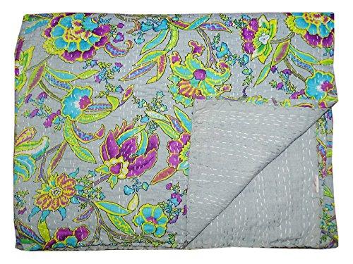 Bhavya International Multi Color Cotton Kantha Floral Quilt Indian Handmade