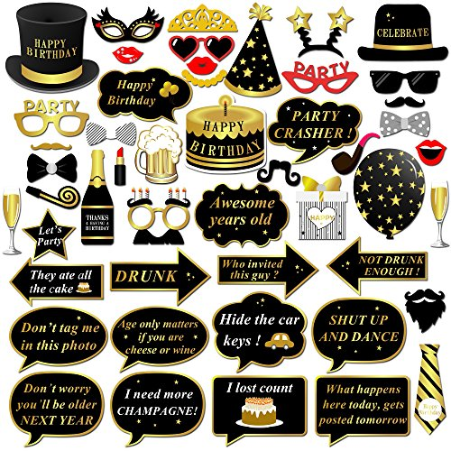 Konsait Happy Birthday Party Photo Booth Props with Stick (49Counts) for Her Him Funny Birthday Black and Gold Decorations, Happy Birthday Party Favors Supplies for kids Adults Men and Women