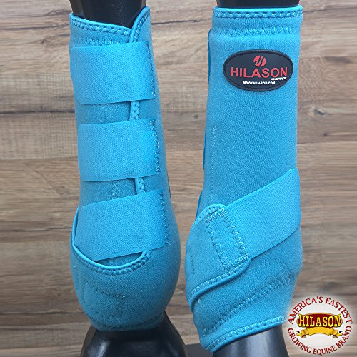 HILASON MEDIUM INFRA-TECH HORSE MEDICINE SPORTS BOOTS FRONT LEG TURQUOISE