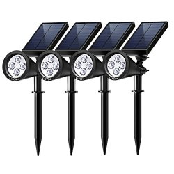 Litom Solar Spotlights, 4 LED Outdoor Landscape Lights 90°Adjustable Waterproof Security Lighting, 2-in-1 Auto On/Off Wall Lights for Lawn, Flag, Yard, Driveway, Garden (4 Pack)