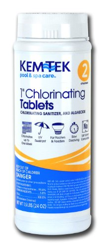 Kem-Tek Chlorinating Tablets 1-Inch Pool and Spa Chemicals, 1.5-Pound