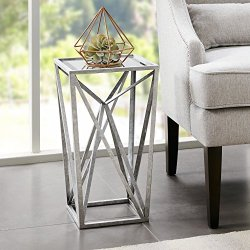Modern Transitional Beveled Mirror Top Accent End Table with Angular Metal Base - Includes Modhaus Living Pen