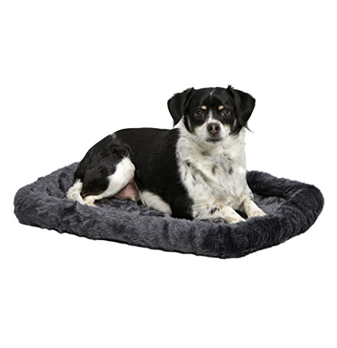 """MidWest Deluxe Bolster Pet Bed for Dogs & Cats; Pet Bed Measures 24L x 18W x 2.25H Inches & Fits Standard 24""""L Wire Dog Crate, Gray"""