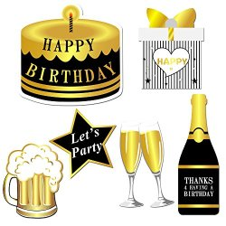 Konsait Happy Birthday Party Photo Booth Props with Stick (49Counts) for  Her Him Funny Birthday Black and Gold Decorations, Happy Birthday Party
