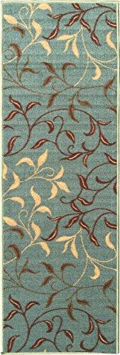 Ottomanson Ottohome Collection Contemporary Leaves Design Non-Skid Rubber