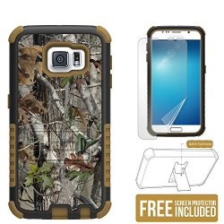 Galaxy S6 case, Beyond CellTM Tri Shield Phone Armor Case With Built-in Kickstand, Non Slip & Slim Case for Samsung Galaxy S6 - Autumn Camouflage - FREE HD Screen Protector
