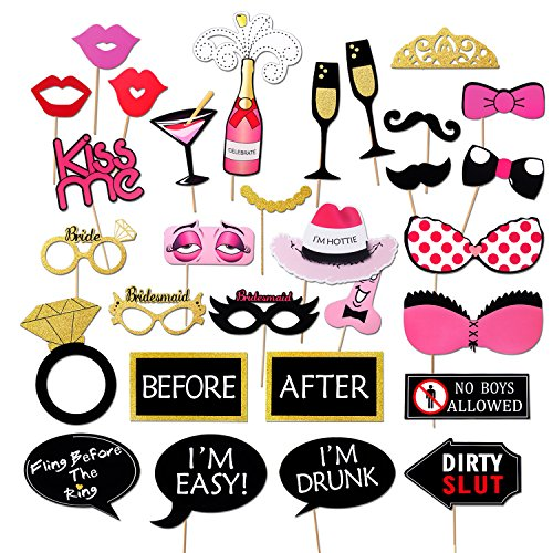 Bachelorette Party Photo Booth Props Kit,Konsait Girls Night Out Games Bachelorette Party Decoration Dress Up Accessories for Wedding (30 Count)