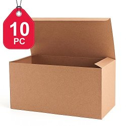 MESHA Recycled Gift Boxes 9x4.5x4.5 Inch Brown Paper Boxes 10PCS Kraft Favor Boxes for Party, Wedding, Gift