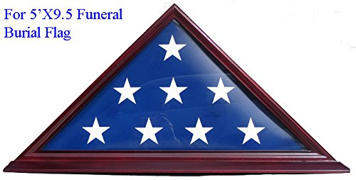DisplayGifts 5' X 9. 5' Flag Display Case For Veteran, Memorial Flag-Beveled Base For Nameplate, Cherry Finish, SOLID WOOD FC06 (Cherry, For 5'X9. 5' Flag)