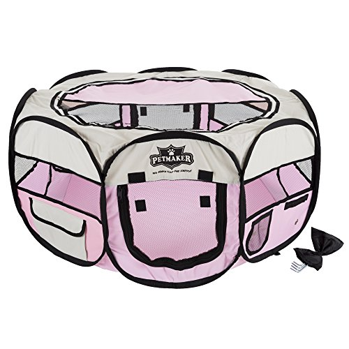 Portable Pop Up Pet Play Pen with carrying bag 33in diameter x 15.5in Pink by PETMAKER