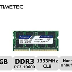Timetec Hynix IC 8GB DDR3 1333MHz PC3-10600 Non ECC Unbuffered 1.5V CL9 2Rx8 Dual Rank 204 Pin SODIMM Laptop Notebook Computer Memory Ram Module Upgrade(8GB)