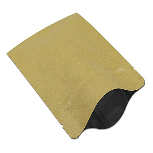 5.5mil Kraft Paper Inner Mylar Foil Ziolock Bag with Tear Notches Heat Sealable Resealable Pouch Smell Proof Spice Coffee Jerky Long Term Food Storage Bag (100, 3.1x4.3 inch (8x11cm))