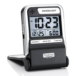 Peakeep Ultra Compact Battery Travel Alarm Clock with Calendar, Ascending Beep Alarm with Snooze Light, 3 AAA battery Operated Small Digital Alarm Clock