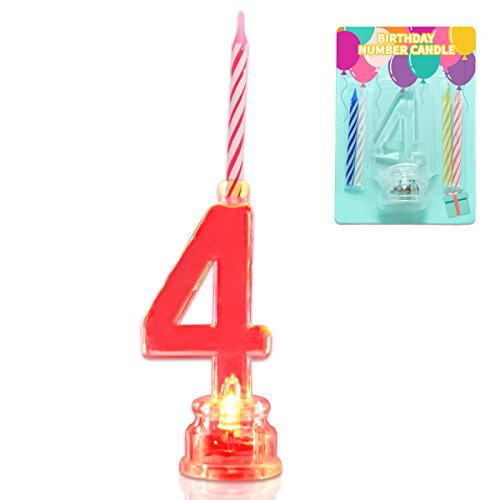 Novelty Place Multicolor Flashing Number Candle Set, Color Changing LED Birthday Cake Topper with 4 Wax Candles (Number 4)