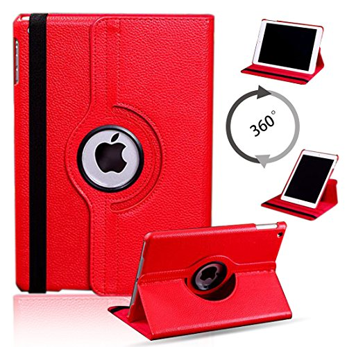 For iPad 4 Case, ANGELLA-M 360 Degree Rotating Stand PU leather Shock Absorption Case Cover for iPad 2 /iPad 3 /iPad 4 Tablet - Red