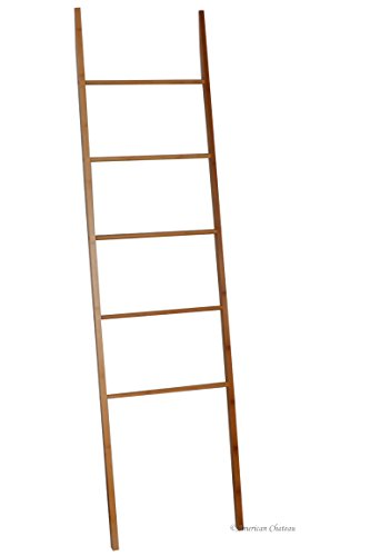 """71"""" Kitchen/Bathroom Bamboo 5-Tier Wall Leaning Ladder for Hanging Towels"""