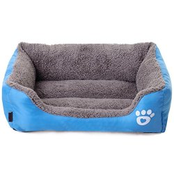 Spring fever Ultra-Soft Paw Print Pet Water Resistant Rectangle Orthopedic Snuggle Dog Cat Warm Pet Bed D Blue L (25.218.56.3 inch)
