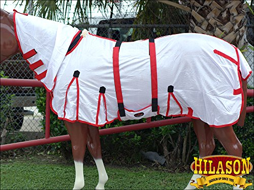 """HILASON 75"""" UV PROTECT MESH HORSE FLY SHEET W/BELLY WRAP & NECK COVER WHITE"""