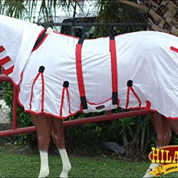 "HILASON 75"" UV PROTECT MESH HORSE FLY SHEET W/BELLY WRAP & NECK COVER WHITE"