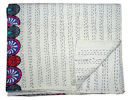 Bhavya International White Handmade Cotton Kantha Quilt Indian Handmade Bedspread Coverlet